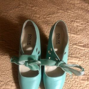 Mint Dolche heels with ribbon tie